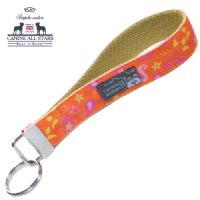 WRISTLET KEYCHAIN - PINK AND PASSION FRUIT PAISLEYS ON BRIGHT ORANGE